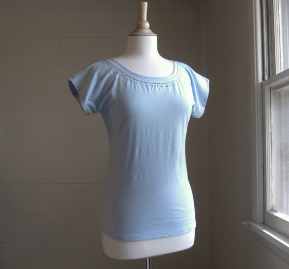 Short Sleeve Tshirt Sky Blue Favorite Tee with Embroidery - Ready to Ship size Small