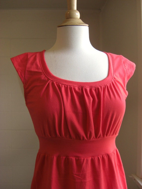 Cap Sleeve Shirt with Empire Waist - Orange Red Ready To Ship Size Small