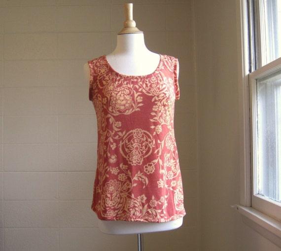 SALE - SMALL Womens Burnout Tank Top Rust Orange Peach Floral Print Scoop neck Sleeveless Shirt