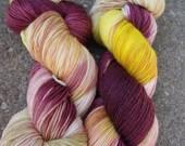 Bootsie Hand Dyed Sock Yarn - Butter Brown Cherry