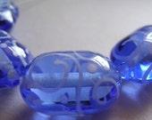 Lampwork Glass Beads Handmade Ericabeads Blue Oval Lentils  (4)