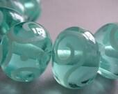 Glass Handmade Aqua Blue Green Lampwork Beads Ericabeads Pale Aqua Beads (6)