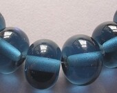 Lampwork Glass Blue Handmade Beads Ericabeads Steel Blue Spacers (6)