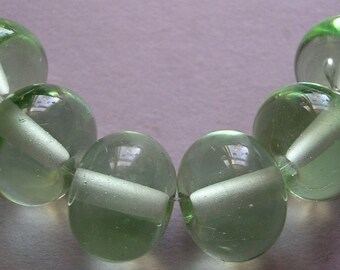 Glass Lampwork Beads Handmade Green Ericabeads Pale Green Spacers (6)