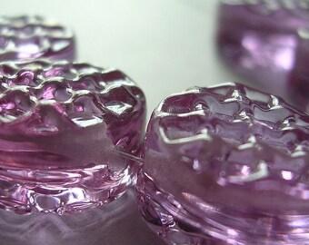 Lampwork Glass Purple Beads handmade Ericabeads Lavender Blush Waffle Tabs (6)