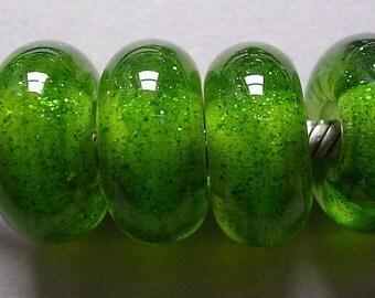 Glass Beads Green Lampwork Handmade European Charm BHB Big Hole Beads Ericabeads Lemon Lime Sparkle(4)