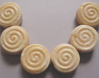 Handmade Lampwork Ivory Glass Beads Ericabeads Ivory Spiral Tabs (6)