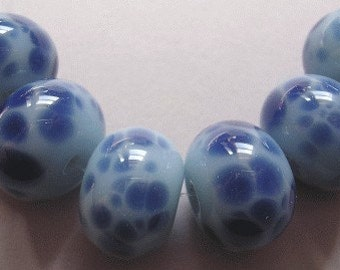 Handmade Glass Blue Lampwork Beads Ericabeads Powder Blue with Steel (6)