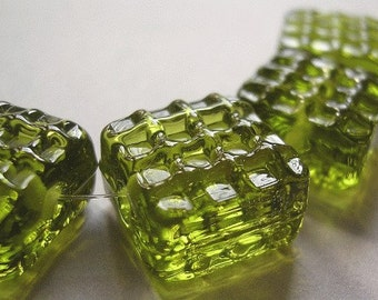 Glass Lampwork Green Handmade Beads Ericabeads Pale Olive Green Waffle Tiles (6)