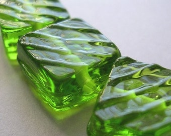 Handmade Glass Green Lampwork Beads Ericabeads Lime Groovy Tiles (6)