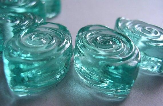 CLEARANCE 20% Glass Handmade Aqua Blue Green Lampwork Beads Ericabeads Pale Aqua Spiral Zulus (6)