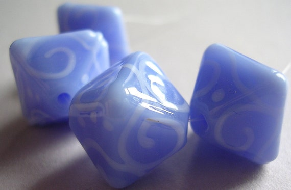 Lampwork Glass Beads Handmade Ericabeads Periwinkle Crystals (4)