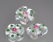Reserved-Crystal Clear Lampwork Flower Beads