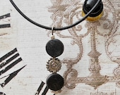 CLEARANCE Trinity Necklace-Black & Silver