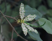 Green Beaded Dragonfly Pin