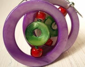 Proud Mary - Pair of Earrings - Purple, Red, Green Shell Dangles