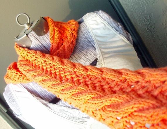 Orange Cruller Cotton Knit Scarf