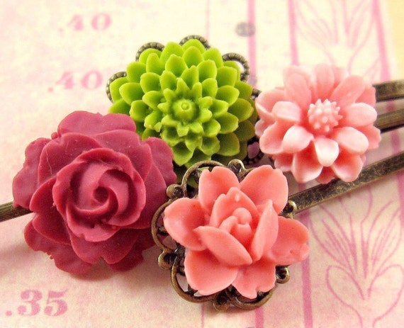 Flower Bobby Pins : Coral Bright