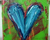Blue Knifed Heart Acrylic Painting on Mini Canvas