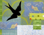 Original Collage - Sparrow Flight