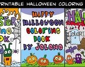 3 PDF Printable Digital Halloween Monster Coloring Books