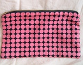 Pink and Black Makeup Pouch made with designer fabric