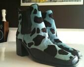 VINTAGE Bruno Valenti Leopard Electric Blue Pony Hair Boots 7