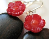 SALE - Red Rose in the Woods Earrings
