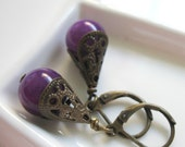 SALE - Jaded. Purple Candy Jade and Antique Brass Earrings.