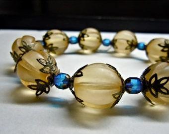 Sale! Pumpkin Glass Matt Round Aqua Blue and Bronze Czech Bracelet FREE SHIPPING!