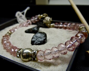 Baby Pink Faceted Glass Beads Diamond Crystal Sterling Silver Bracelet