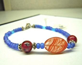 SALE! Blues Reds Swirls Lampwork Bracelet