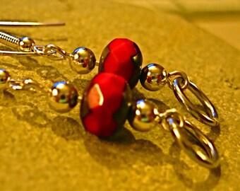 Candy Apple Red Czech Silver Link Earrings (E166)