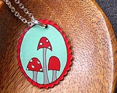 Forest Floor cameo necklace, spotted mushrooms, red and turquoise