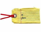ON SALE - Zip Pouch - Gift Tag Note Poche (To From) YELLOW