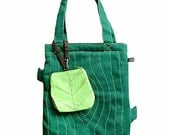 Laptop Bag And Pouch - Tree Trunk And A Leaf (Emerald Green and Apple Green)