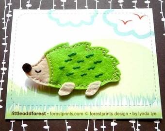 Hedgehog Pin, Hedgehog Brooch, Felt Hedgehog, Hedgehog Badge, Porcupine Brooch, Felt Porcupine, Porcupine Badge - APPLEGREEN