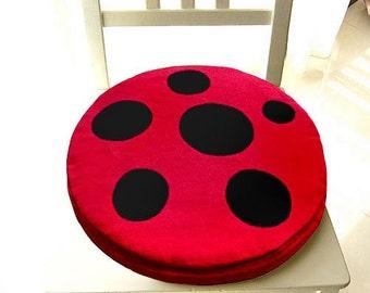 Mushroom Seat Cushion, Mushroom Floor Cushion, Round Cushion, Chair Cushion, Seat Cushion, Floor Cushion, Red Mushroom Black Dots