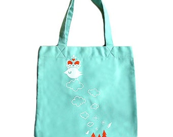Tote Bag - SALE - Snotty Crowned Bird Tote (Mint Green)