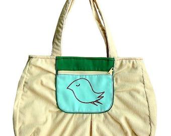 Bird Tote Bag, Bird Bag, Bird Handbag, Bird Shoulder Bag, bag with zip pocket, cream bag, green pocket, Bird design, CLEARANCE SALE Bag