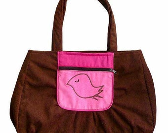 ON SALE - Tote Bag - The Snotty Bird Bag (Cocoa And Orange)