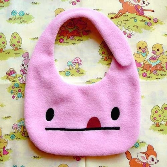 Baby Toddler Drool Bib - Fleece Bib - Baby Bib - Toddler Bib - Pink Bib - Cheeky Monster Baby Bib - Light Pink Color