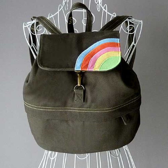 Rainbow Backpack, Rainbow Bag, Small Backpack, Petite Backpack, Kid's Backpack, Over The Rainbow Petit BackPack - Dark Olive Green Color