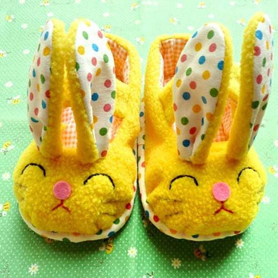 Baby Booties - Funny Bunny MaryJanes (SUNNY YELLOW)