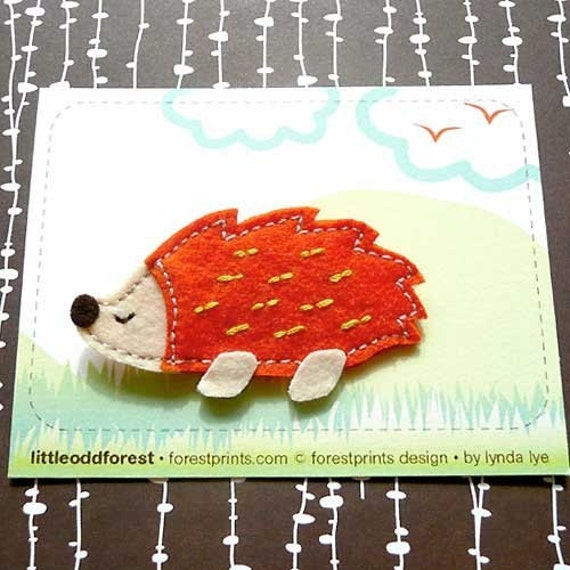 Pin Brooch - Rainbow Hedgehog Felt Pin Brooch - ORANGE
