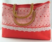 Red Eyelet and Lace Handbag