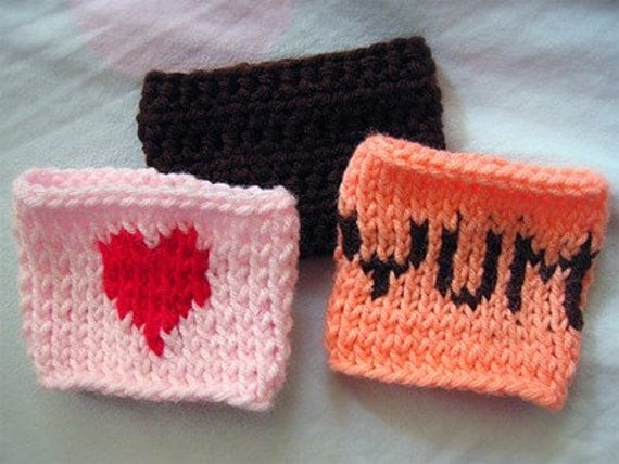 Pink Knitted Coffee Cup Holder with Heart by mmmfruit on Etsy