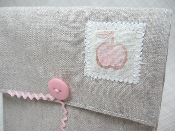Pink Dot Apple Linen Pouch