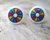 Round Rainbow Colorwheel Studs Red Yellow Blue Green Vintage