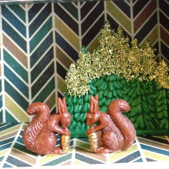 Two Squirrels First Date Golden Acorn Miniature Diorama